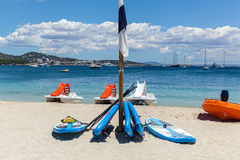 Beach with catamarans Stock Image