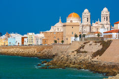 Beach and Cathedral in Cadiz, Andalusia, Spain Stock Photo