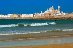 Beach and Cathedral in Cadiz, Andalusia, Spain Royalty Free Stock Photos