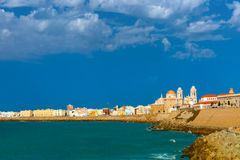 Beach and Cathedral in Cadiz, Andalusia, Spain Royalty Free Stock Images