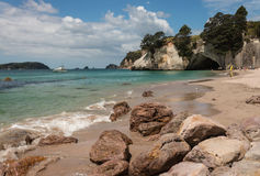 Beach at Cathedral Cove on Coromandel Peninsula Royalty Free Stock Images