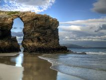 Beach of cathedrals. Forms of rocks on the beach of cathedrals in ribadeo, Spain Stock Image