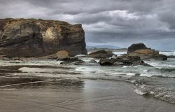 Beach of the Cathedrals. In Galicia, Spain royalty free stock image
