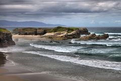 Beach of the Cathedrals. In Galicia, Spain stock photo