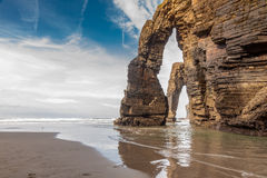 Beach of the cathedrals, Lugo. Buttresses made by nature in the beach Royalty Free Stock Photography