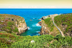 Beach of the Cathedrals in Ribadeo, Galicia, Spain Royalty Free Stock Photography