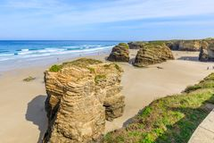 Beach of the Cathedrals. RIBADEO, GALICIA, SPAIN - SEPTEMBER 24, 2017: Beach of the Cathedrals Royalty Free Stock Photos