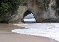 Beach Cave. Cave that goes right trough mountain on the beach Stock Photos