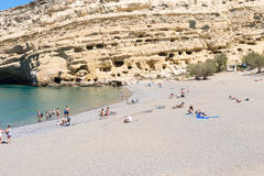 The beach and the caves in Matala, Crete Stock Photo