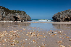 Beach of Caves of the sea Royalty Free Stock Photo