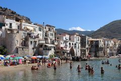 The beach in Cefalù Royalty Free Stock Image