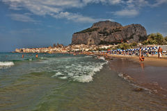 Beach of Cefalu Stock Photo