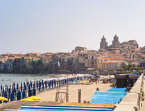 Beach of Cefalu.Sicily. Beach of Cefalu with centre city in the background. Sicily stock photos