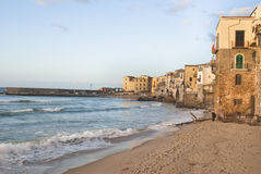 Beach of Cefalu.Sicily. Beach of Cefalu with centre city in the background. Sicily royalty free stock photography