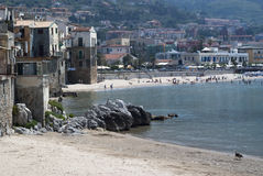 Beach of Cefalu.Sicily. Beach of Cefalu with blue sea. Sicily royalty free stock photography