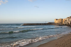 Beach of Cefalu.Sicily. Beach of Cefalu with blue sea. Sicily royalty free stock photos