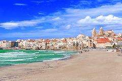 Beach at Cefalu Stock Photography