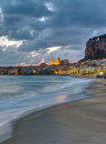 The beach of Cefalu before sunrise Royalty Free Stock Image