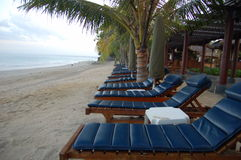Beach chair. For sun bathing at Kuta Beach, Bali, Indonesia. Very warm and cozy place to relax royalty free stock photo