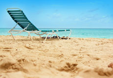 Beach chair. On sand with ocean view royalty free stock photo