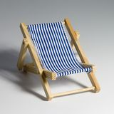 Beach chair. Blue and white beach chair Royalty Free Stock Photography