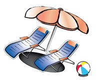 Beach Chair. Illustration of beach chair and umbrella using calligraphy strokes Stock Photos