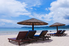 Beach chair. Beautiful beaches and Beach chair ,in sanya hainan stock photography