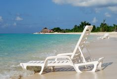 Beach Chair. Empty sunny beaches on Cozumel island, Mexico stock image