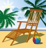 Beach chair. Summer beach, palm trees, sea, chair and ball Stock Photo