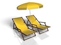 Beach chair. On white background Stock Photography
