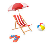Beach chair. Vector illustration of a beach chair with umbrella Royalty Free Stock Photos