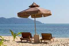 Beach Chair And Umbrella On The Beach In Sunny Day , Thailand Royalty Free Stock Photography