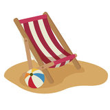Beach chair and ball  Royalty Free Stock Images