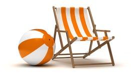 Beach Chair and Beach Ball Stock Photography