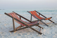 Beach chair on the beach. Beach chair on the beautiful beach royalty free stock photos
