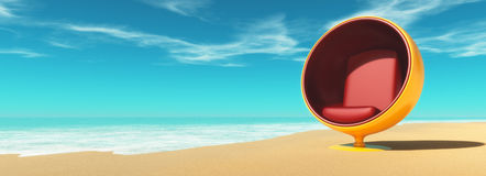Beach chair on the beach. Stock Photo