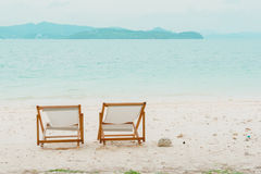 Beach chair on the beach at Naka Noi Island, Phuket Royalty Free Stock Photos