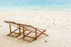 Beach chair on the beach at Naka Noi Island, Phuket Royalty Free Stock Photography