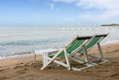 Beach chair on the beach in pattaya Royalty Free Stock Photos
