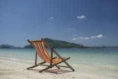 Beach chair at beach in thailand Stock Images