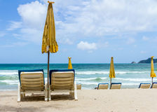 The beach chair on beach. Royalty Free Stock Photography