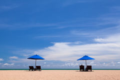 Beach chair and beach umbrella Royalty Free Stock Images