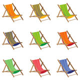 Beach chair. Colorful Beach chair  on white background. Wooden Furniture. Stock Photos