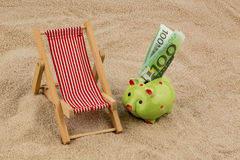 Beach chair with euro banknote Stock Images