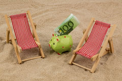 Beach chair with euro banknote Stock Photo
