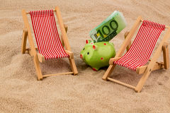 Beach chair with euro bill Stock Photo