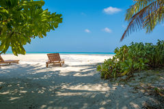 Beach chair facing the ocean and white sandy beach. In Maldives Stock Image