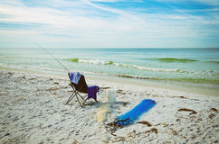 Beach Chair with Fishing Rod Stock Photography