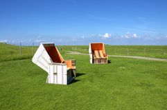 Beach Chair on the Hallig Langeness Stock Images