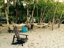 Beach chair and hammocks costa rica Stock Images